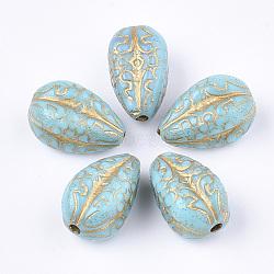 plaquer les perles acryliques, pour la fabrication de bracelets et de bijoux, métal enlacée, larme, turquoise, 18.5x11x11 mm, trou: 2 mm(X-PACR-T008-07B)