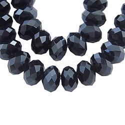 perles de verre brins, lustre perle plaqué, cristal suncatcher, facettes rondelle, noir, 4x3 mm, trou: 1 mm; environ 140~145 perle / brin, 18.9(X-EGLA-GR4MMY-27L)
