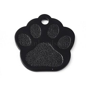 Aluminum Pendants, Blank Tags, Dog Paw Prints, Black, 28.5x27x1mm, Hole: 3mm(ALUM-WH0009-04H)