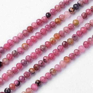 rhodonite naturel brins de perles, rondelle, facettes, 3.2x3 mm, trou: 0.5 mm; environ 127 perle / brin, 15.4(X-G-P156-04-3mm)