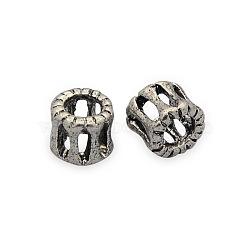 Perles filigranes creuses en laiton, colonne, sans nickel, argent antique, 6x6mm, Trou: 3mm(KK-J187-65AS-NF)