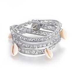 """Coréen ciré câbles de polyester bracelets d'enveloppe, avec des perles en forme de cauris et une perle de verre plaquée, boutons en alliage de zinc, trois boucles, gris clair, 22.44"""" (57cm); 8mm(BJEW-JB04061)"""
