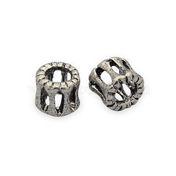 Brass Hollow Filigree Beads, Column, Nickel Free, Antique Silver, 6x6mm, Hole: 3mm(KK-J187-65AS-NF)
