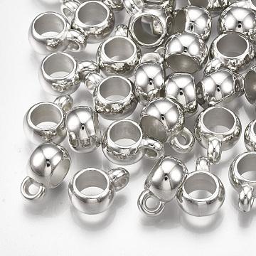 CCB Plastic Hanger Links, Platinum, 11x5x8mm, Hole: 1.5mm; Inner Diameter: 5mm(X-CCB-T006-054P)
