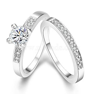 Exquisite Tin Alloy Czech Rhinestone Couple Rings For Women, Platinum, US Size 6(16.5mm)(RJEW-BB10590-6B)