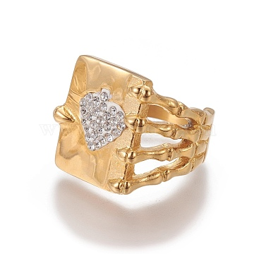 304 Stainless Steel Finger Rings, with Rhinestones, Rectangle with Heart, Crystal, Golden, Size 8~11; 18~21mm(RJEW-E157-07G)