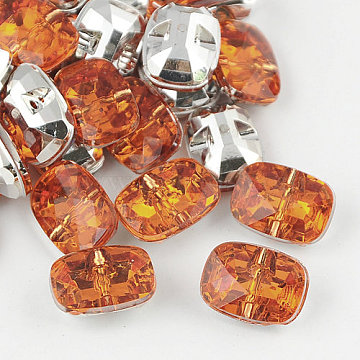 Taiwan Acrylic Rhinestone Buttons, Faceted, 1-Hole, Rectangle, Orange, 16x11.5x7mm, Hole: 1mm(BUTT-F019-16mm-37)
