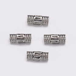 Perles en alliage de style tibétain, Tube, sans plomb, argent antique, 8.5x3mm, Trou: 1.5mm(X-TIBEB-1009-AS-LF)