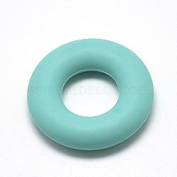 экологические силиконовые бусины, жевательные бусины для чайников, DIY уход за ожерельем, пончик, голубой, 42x9 mm, отверстия: 20 mm(SIL-Q006-06)