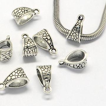 Tibetan Style Alloy Hanger Links, Bail Beads, Antique Silver, 14.5x7.5x8mm, Hole: 1.5mm, Inner Diameter: 6x8mm(X-PALLOY-S079-056AS)
