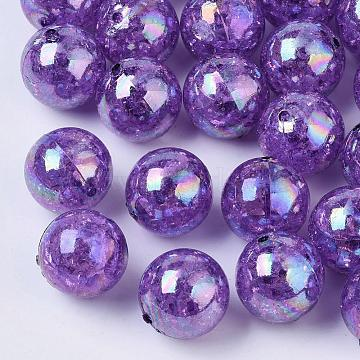 AB Color Transparent Crackle Round Acrylic Beads, Dark Violet, 20mm, Hole: 2.5mm, about 108pcs/500g(CACR-S006-05)
