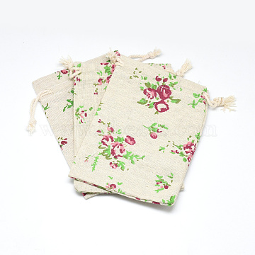 Polycotton(Polyester Cotton) Packing Pouches Drawstring Bags, with Printed Flower, Wheat, 14x10cm(X-ABAG-T004-10x14-10)