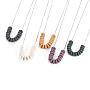 304 трос из нержавеющей стали цепи ожерелья, бисера ожерелья, с плоскими круглыми бусинами из натуральной лавы и застежками в виде когтей омара, нержавеющая сталь цвет, cmешанный цвет, 17.83 (45.3 см)