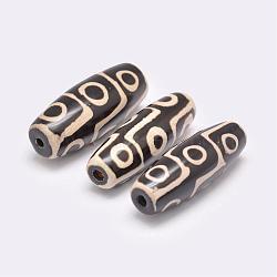 Perles de style tibétain, Perles d'agate naturelles, teints et chauffée, riz, noir, 39~40x13~16mm, Trou: 2~3mm(TDZI-G009-B37)