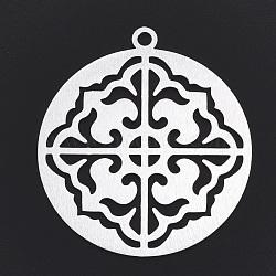 gros pendentifs en aluminium, laser coupé gros pendentifs, plat et circulaire avec fleur, argent, 55x50x1 mm, trou: 3 mm(X-ALUM-T001-07S)