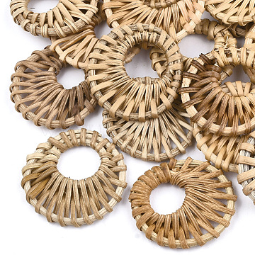 Handmade Reed Cane/Rattan Woven Pendants, For Making Straw Earrings and Necklaces, Flat Round, BurlyWood, 38~48x5mm, Hole: 16~20mm(WOVE-T005-09A)