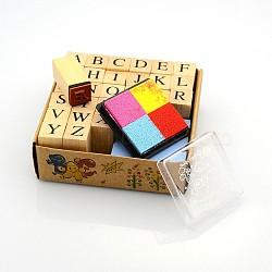 Alphabet sets de tampons en bois, avec tampon encreur coloré, tan, 30x13x13mm, environ 26 pcs / boîte(AJEW-A013-02)