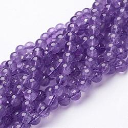 15~16inches Round Gemstone Strand, Amethyst, 6mm in diameter, hole: about 0.8mm