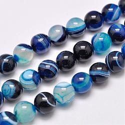 Natural Striped Agate/Banded Agate Bead Strands, Dyed & Heated, Round, Grade A, Blue, 10mm, Hole: 1mm; about 39pcs/strand, 15.2inches(387mm)