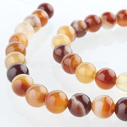 """Chapelets de perles rondes en pierre d'agate naturelle, teint, chocolat, 6mm, trou: 1mm; environ 63 pcs/chapelet, 15.35""""(G-E232-06)"""