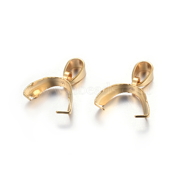 304 Stainless Steel Pendant Pinch Bails, Golden, 12.5x13.5x5mm, Hole: 5x3.5mm, Pin: 0.5mm(X-STAS-P223-16G)