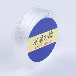 Chaîne en cristal élastique plat japonais, fil de perles élastique, pour la fabrication de bracelets élastiques, blanc, 0.7mm, 60 yards / rouleau, 180 pied / rouleau(EW-G007-02-0.7mm)