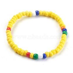 """Bracelets extensibles pour enfants, avec des perles en verre de graine, jaune, 1-3/4"""" (4.6 cm)(BJEW-JB03938-02)"""