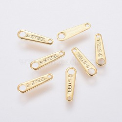 304 Stainless Steel Chain Tabs, Chain Extender Connectors, Golden, 10x3x0.6mm, Hole: 0.8mm and 1.6mm(STAS-L234-011G)
