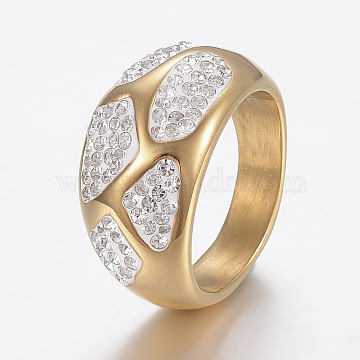 304 Stainless Steel Finger Rings, Wide Band Rings, with Polymer Clay Rhinestones, Golden, Size 9, 19mm(RJEW-H125-73G-19mm)