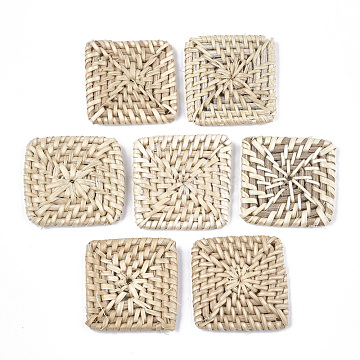 40mm AntiqueWhite Square Rattan Beads