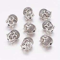 Tibetan Style Alloy Beads, Lead Free & Nickel Free, Buddha Head, Antique Silver, 11x9x8mm, Hole:1.5mm