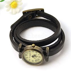 Fashion triple wrap leather watch bracelets, avec des composants de montres en alliage, bronze antique, noir, 610~620x9x6mm(WACH-G009-04)
