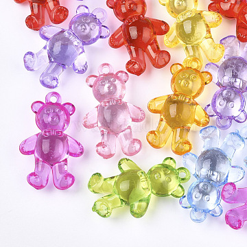 Transparent Acrylic Pendants, Bear, Mixed Color, 40.5x26x13mm, Hole: 2.5mm(X-TACR-S133-026)