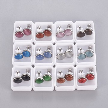 304 Stainless Steel Ear Fake Plugs, Ear Studs, with Synthetic Gemstone and Cat Eye, Half Round, Mixed Color, Stainless Steel Color, 10mm; Pin: 1mm; 12pairs/card(EJEW-F227-20P-B)