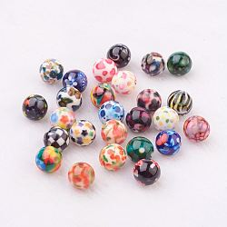 Spray Painted Resin Beads, with Pattern, Round, Mixed Color, 10mm, Hole: 2mm(GLAA-F049-A)