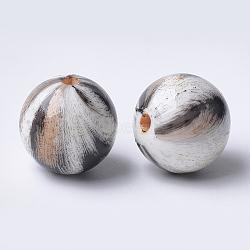 Perles acryliques imprimées, rond, navajo blanc, 14x13.5mm, Trou: 2.5mm(X-MACR-T024-42A)