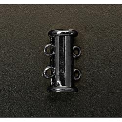 Fermoirs à coulisse en laiton à  2-brins, accessoire de bijoux, 4 trous, gunmetal, 15x6mm, Trou: 2mm(KK-Q356-2)