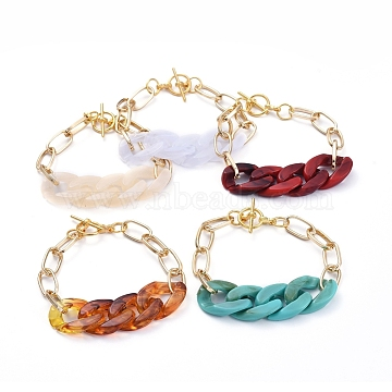 Chain Bracelets, with Acrylic Quick Link Connectors, Aluminium Paperclip Chains and Alloy Toggle Clasps, Mixed Color, 7-1/4 inches(18.4cm)(BJEW-JB05127)