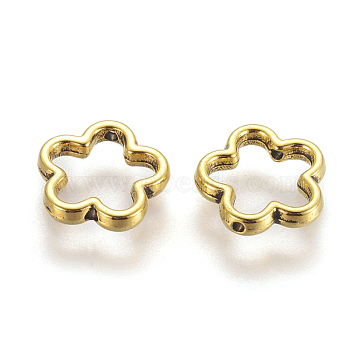 Tibetan Style Bead Frames, Flower, Great for Mother's Day Gifts making, Antique Golden, Lead Free, Cadmium Free and Nickel Free, Size: about 15mm in diameter, 2mm thick, hole: 1.5mm(GLF11215Y-NF)