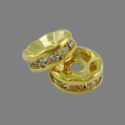 Латунные бусины разделители для поставки стразов, класс А, прямой фланец, золотые, рондель, кристалл, 6x3 мм, отверстие : 1 мм(X-RB-A014-Z6mm-01G)