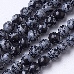 """Chapelets de perles de flocon de neige en obsidienne naturelle, rond, 8mm, trou: 1mm; environ 51 pcs/chapelet, 15.3""""(G-D855-11-8mm)"""