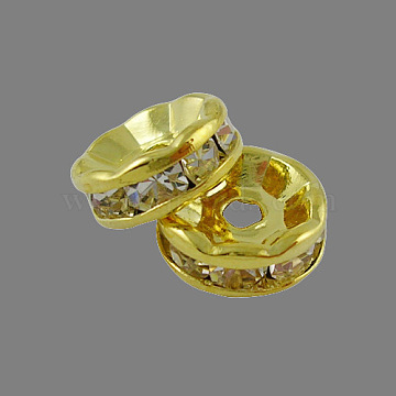 Brass Rhinestone Spacer Beads, Grade A, Straight Flange, Golden, Rondelle, Crystal, 6x3mm, Hole: 1mm(X-RB-A014-Z6mm-01G)