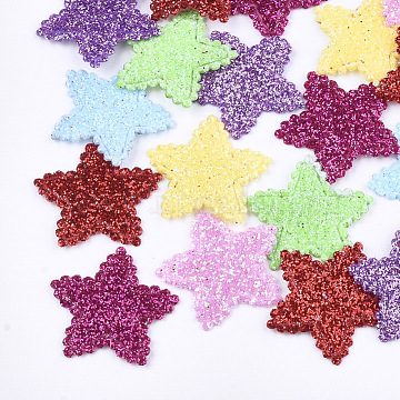 Non Woven Fabric Costume Accessories, with Glitter Powder, Star, Mixed Color, 19x20x1mm(X-FIND-T038-06)