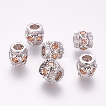 Brass Micro Pave Cubic Zirconia European Beads, Column, Large Hole Beads, Platinum, 10x8.5mm, Hole: 4.5mm(ZIRC-G091-25P-04)
