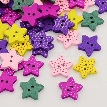 Wooded Buttons, Dyed, 2-Hole, Star with Polka Dot, Mixed Color, 15x16x3mm, Hole: 2mm(X-BUTT-N002-19)