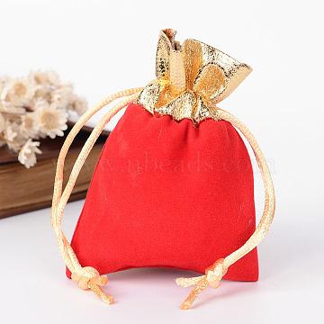 Rectangle Velvet Jewelry Bag, Red, 9x7cm(X-TP-R001-7x9-02)