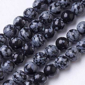 8mm Black Round Snowflake Obsidian Beads