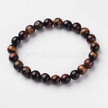 Natural Tiger Eye Round Bead Stretch Bracelets, 2-1/8inches(5.5cm)(X-BJEW-L594-A03)