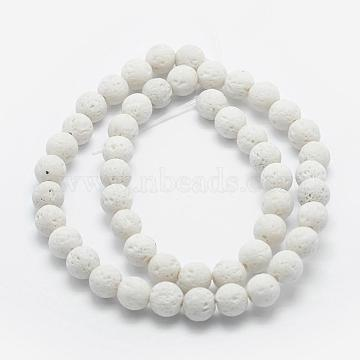 Natural Lava Rock Beads Strands, Dyed, Round, White, 10mm, Hole: 1mm; about 38pcs/strand, 15.3 inches(39cm)(X-G-F531-10mm-G17)