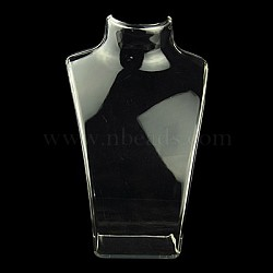 Organic Glass Necklace Standing Bust Displays, Clear, 135x64x210mm(X-NDIS-E006-2C)